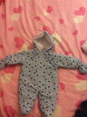 Dinosaur Snowsuit 0-3 Months Removable Mitts.