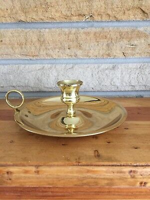 "Baldwin 6"" Wide Chamberstick Brass Candlestick Finger Candle Holder"