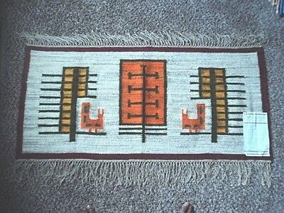 "Vintage Cepelia Wool Hand Woven Kilim,Rug, 3ft 91/2"" 1ft 9 1/2 Made in Poland"