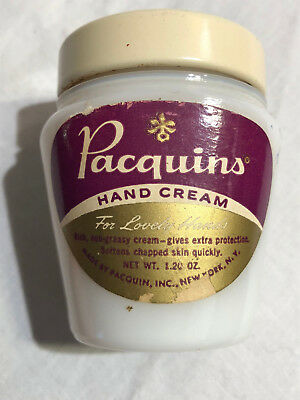 Vintage Pacquins Hand Cream White Milk Glass Jar - Some contents - 1.20 oz