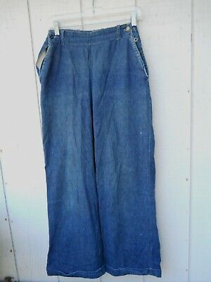 "Vintage 40's Button Side Blue Denim Elephant Bell Jeans Sz 26""w X 31""l Bib Front"