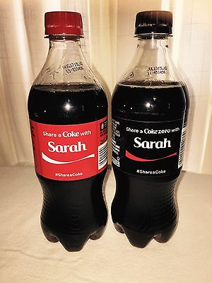 Share a Coke with SARAH Two 20 oz Plastic Collectible Bottles Summer 2015 BOTH
