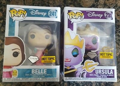 Funko Pop! Ursula and Belle Hot Topic Diamond Collection lot of 2