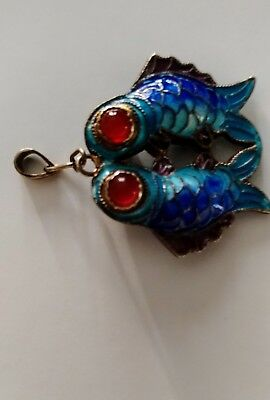 Vintage Chinese Silver Articulated Cloisonné Enamel two sided Fish Pendant Blue