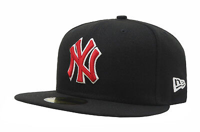 12d796dc9 New Era 59Fifty Hat MLB New York Yankees Mens Adult Black Red Fitted 5950  Cap