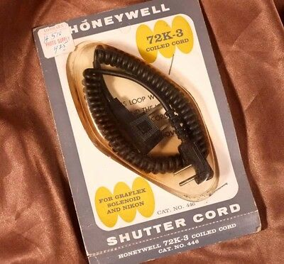 Honeywell NOS 72k-3 Coiled Cord Shutter Cable for Graflex Solenoid and Nikon new