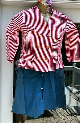 Vintage 1940's Old Stock Blue Skirt & Red White Striped Blouse~Gold Buttons