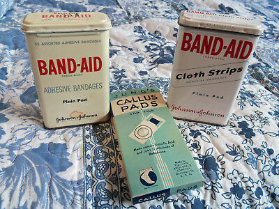 Two Band-Aid Tins- Empty & One Never Used Vintage Jung's Callus Pads Package.