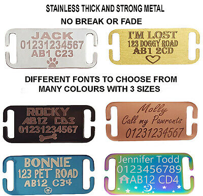 Slide On Collar Engraved Rectangle Id Name Personalised Pet Dog Cat Tag Tags