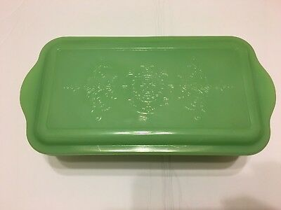 Vintage Fire King Jadeite Philbe Loaf Pan Refrigerator Dish with Lid
