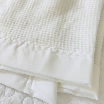 Vtg First Moments SOLID White Acrylic Baby Security Blanket Nylon Trim Lovey