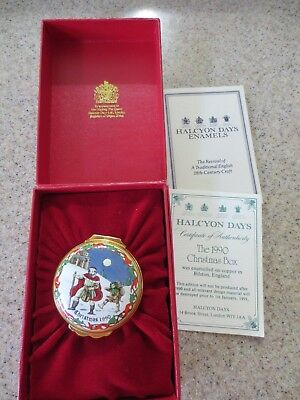 Halcyon Days Enamels Box Christmas 1990 with Box & Paperwork