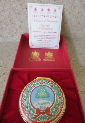 Halcyon Days Enamels Christmas Box 1988 with Box & Paperwork