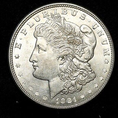1921 D ~**ABOUT UNCIRCULATED AU**~ Silver Morgan Dollar Rare US Old Coin! #Y33