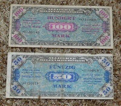 GERMANY 1944 100 50 MARK MILITARY OLD BANKNOTES PAPER MONEY BILL WWII lot