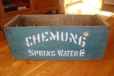 Antique Advertising Chemung Spring Water Bottle Wooden Shipping Crate New York