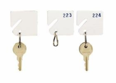 MMF Industries 5313231AA06 Slotted Rack Key Tags with Snap-Hook, White, Numbered