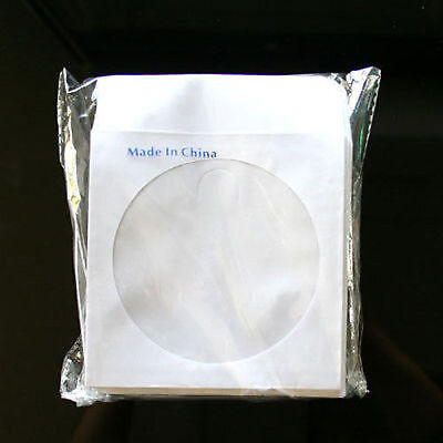 1000 Paper Sleeve Envelope with Clear Window & Flap for CD DVD White 80g