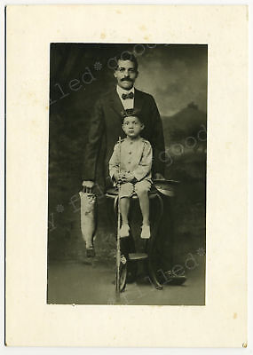 AFRICAN AMERICAN FATHER & SON WITH FISHING POLE & BIG FISH 1920s PHOTO