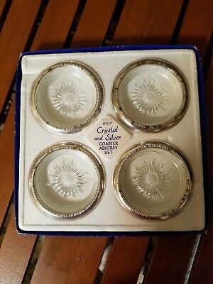 Leonard Italy Crystal And Silver Coaster/ashtray Set Of (4) Coasters Sealed