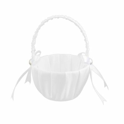White Satin Beaded Wedding Flower Girl Basket Bowknot Decor I4W6