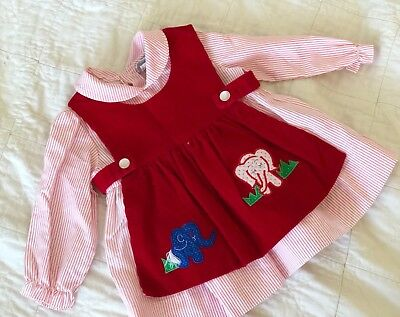 Vintage Two Piece Dress/ VTG Baby Girl Red Dress
