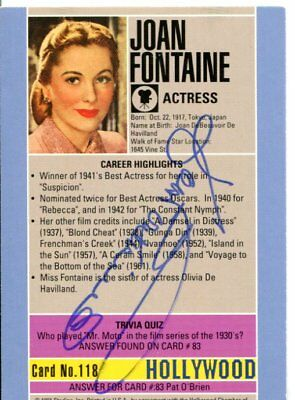 JOAN FONTAINE  autograph HAND SIGNED 1283