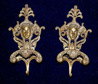 Pair Of Magnificent French Brass Hat/ Coat Hooks  With Female Faces
