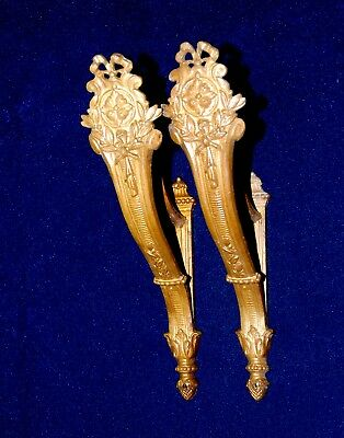 Large Pair Of Antique Brass  French Curtain Pole Rod Holders Brackets