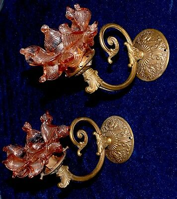 Pair Of Pretty Antique/ Vintage French Ormolu Bronze/ Brass Sconces