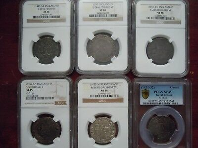 6 Ngc/pcgs Graded Medieval Hammered British Coins (1357-1553)