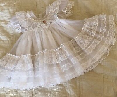 White Vintage Baby Dress/ Sheer Ruffle White Girl Dress