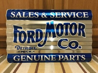 Ford Motor Company Metal Sign Sales Service Parts Vintage Style Gas Oil Pump Car