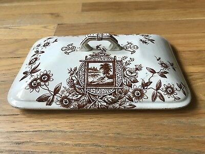 Antique Aesthetic Brown Transferware Vegetable Casserole Lid Only Staffordshire