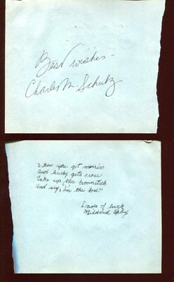 PEANUTS charlie brown CHARLES M SCHULTZ  autograph HAND SIGNED 1332