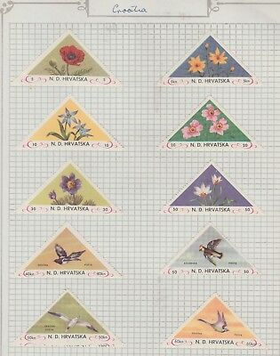 CROATIA Collection Flowers and Birds, on olf page, as per scan, MH #