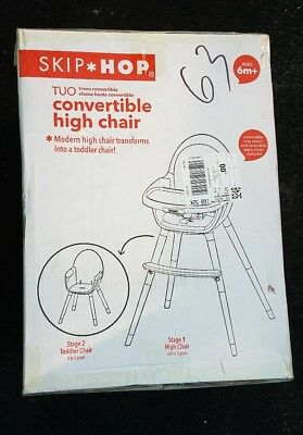 Skip Hop Tuo Convertible High Chair Charcoal Grey Brand New