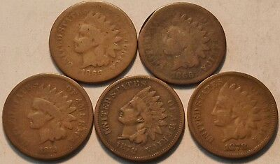 Lot of (5) Better Date Indian Head Cents, 1866 1878 1873, Semi-KEY Date Penny 1C