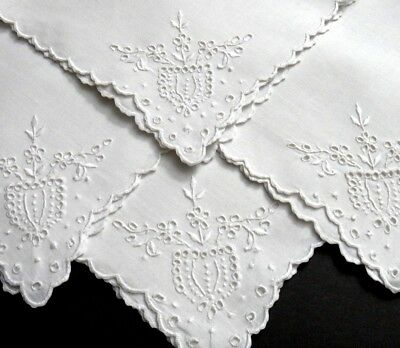 "4 Madeira Embroidery Linen Luncheon Tea Napkins 13.5"", Beautiful Flowers Eyelets"