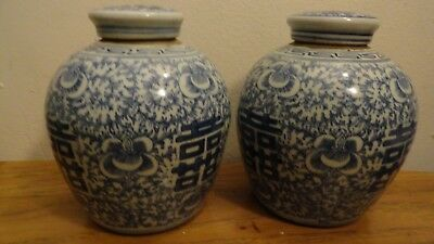 antique pair chinese ginger jar porcelain blue white double happiness lidded
