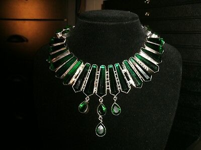 necklace chrome diopside arrow Silver plated Cleopatra cluster bib adjustable