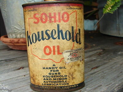 Vintage Rare Sohio Household Oil Can Lead Top W/Foil Label Scarce! Lead Top