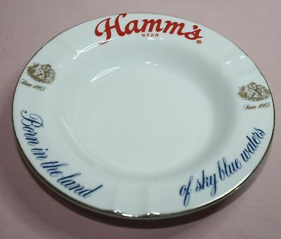 VINTAGE - HAMM'S BEER - SINCE 1865 - ASHTRAY - ADVERTISING WITH ACL Gold Trim