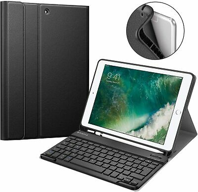 For iPad 6th Gen 9.7 inch 2018 Tablet Keyboard Case TPU Back with Pencil Holder