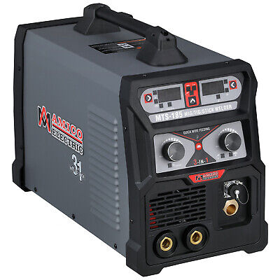 MTS-185 Amp MIG Flux Cored Wire, TIG Torch, Stick Arc 3-IN-1 Combo Welder New