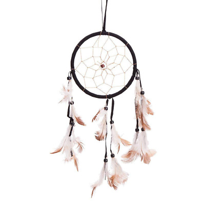 "15"" Traditional Black Dream Catcher with Feathers Wall or Car Hanging Ornament S"