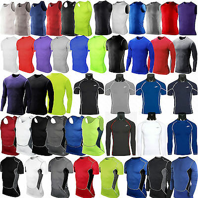 Men T-Shirt Compression Under Base Layer Tight Tops Gym Sports Athletic Fitness