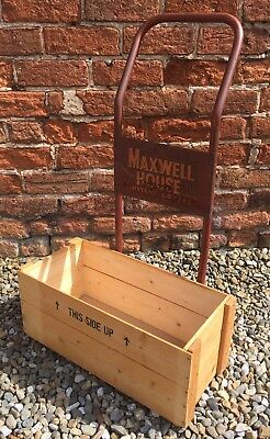 Vintage Metal Sign Written MAXWELL HOUSE Coffee Bean Shabby Chic Box Sack Truck