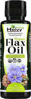 Heivy Organic Flax Oil 24 FL OZ, Flaxseed Oil Liquid, Cold Pressed Flaxseed Oil,