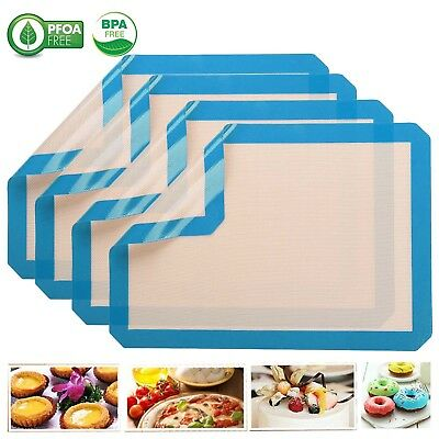 Newly Silicone Baking Mat Anti-Stick Liner Cookie Sheet BBQ Pad Cookie Tool Blue